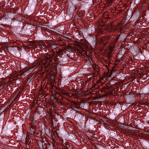 Maroon  Imported Embroidered Net Fabric With Beads Hand-work