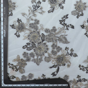 Grey Imported Embroidered Net Fabric With Bead, Pearl Handwork & Thread-work