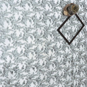 Grey Imported Embroidered Net Fabric With Bead, Sequin Hand-work