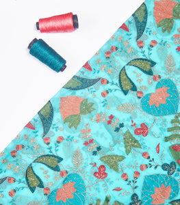 Sky Blue Georgette Fabric With Multicolor Threadwork & Sequins