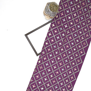 Purple Chinon Crepe Fabric With Mirror & Sequin Work