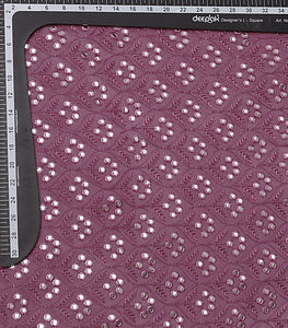 Grape Embroidered Georgette Fabric With Mirror & Threadwork