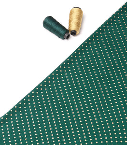Dark Green Polka Dot Foil Print On Ice Velvet Fabric