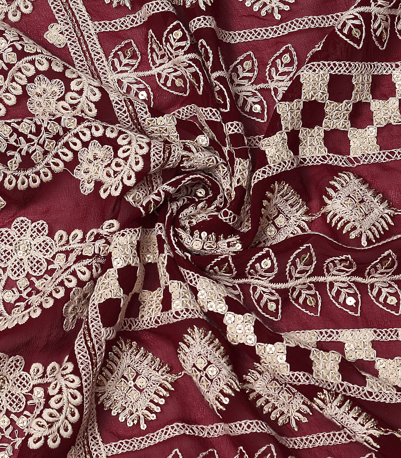 Maroon Lucknowi Georgette Fabric With Sequin & Zari Work