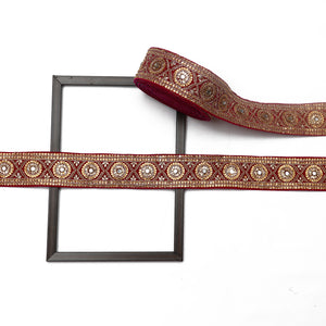 Maroon Base Velvet Lace With Mirror & Stone Handwork