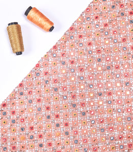 Peach Georgette Fabric With Mirror Embroidery and Sequin work