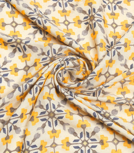 Off-White Cotton Rayon Printed Fabric With Foil