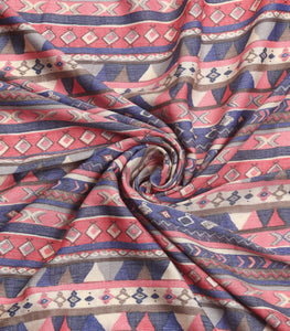 Pink And Blue Cotton Rayon Printed Fabric