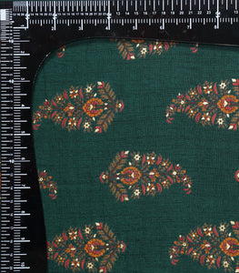 Dark Green Cotton Rayon Printed Fabric With Foil