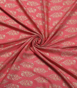 Dark Peach Cotton Rayon Printed Fabric With Foil