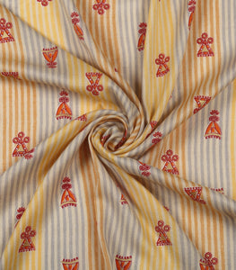 Yellow Printed Stripes On Cotton Rayon Fabric