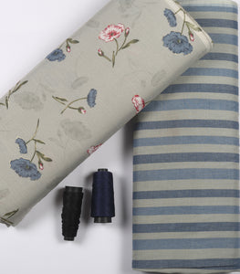 Grey Floral Print On Cotton Rayon Fabric