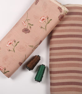 Peach Floral Print On Cotton Rayon Fabric