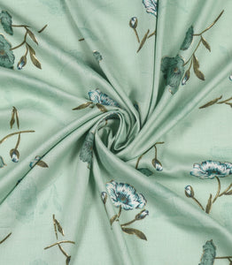 Green Floral Print On Cotton Rayon Fabric