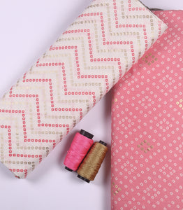 Light Pink Cotton Rayon Fabric With Bandhani And Foil Print