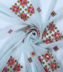 Powder Blue Embroidered Georgette Fabric With Mirror Zari and Thread Work