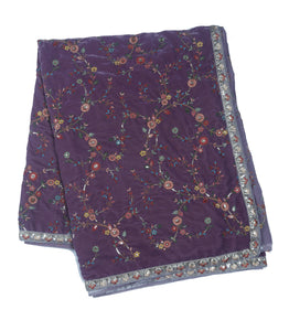 Lavender Embroidered Velvet Dupatta With Sequins & Multicolor Threadwork