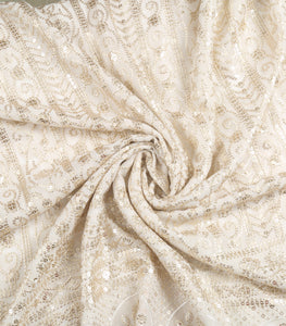 Dyeable White Georgette Fabric With Sequins & Threadwork