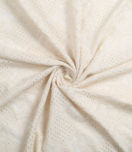Dyeable White Lucknowi Georgette Fabric With Sequins