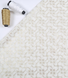 Dyeable White Georgette Fabric With Sequins