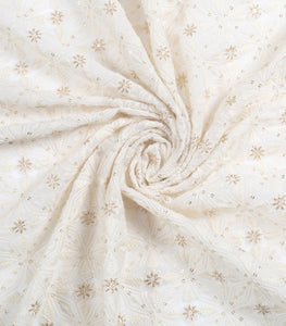 Dyeable White Lucknowi Georgette Fabrics With Sequins