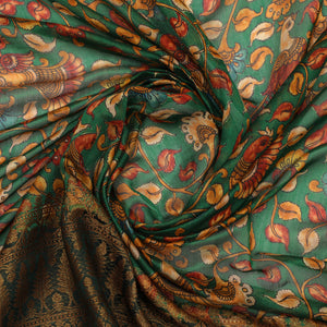 Green Kalamkari Pure Soft Silk With Antique Gold Zari Border