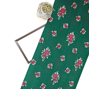 Bottle Green Chinon Crepe Fabric With Resham & Sequin Work