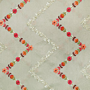 Mouse Chinon Crepe Fabric With Resham & Sequin Work