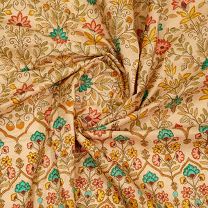 Placement Print on Embroidered Raw Silk Fabric