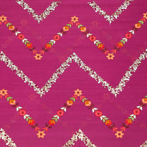 Dark Pink Chinon Crepe Fabric With Resham & Sequin Work
