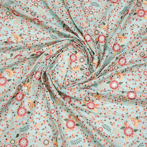 Mint Green Muslin Silk Fabric With Resham & Mirror Work