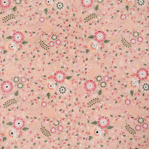 Peach Muslin Silk Fabric With Resham & Mirror Work