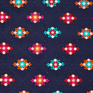 Navy Blue Chinon Crepe Fabric With Gota Foil & Resham Work