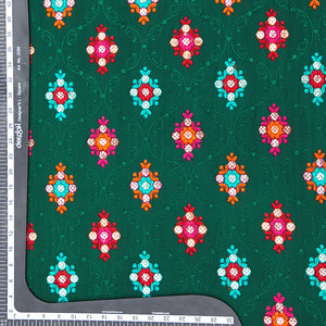Bottle Green Chinon Crepe Fabric With Gota Foil & Resham Work