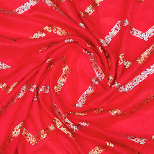 Red Uppada Silk Fabric With Sequin Work