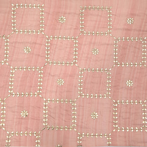 Pastel Pink Printed Tusser Silk Fabric With Gota Foil Work