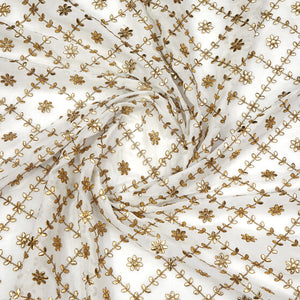 Dyeable White Georgette Fabric With Gota Foil Work