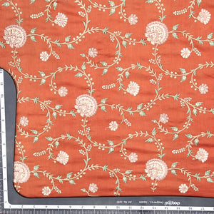 Rust Pure Chanderi Silk With Thread Embroidery