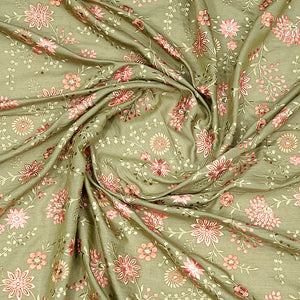 Olive Green Pure Tusser Silk With Heavy Thread Embroidery