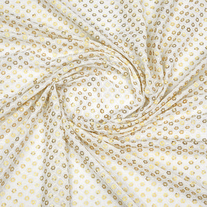 Dyeable White Georgette Fabric With Sequin & Thread-work