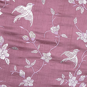 Mauve Pure Tusser Silk With Gota Foil Work