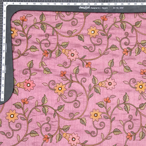 Mauve Tusser Silk Fabric With Mirror & Katha Work