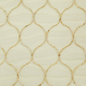 Gold Net Fabric With Sequin & Thread-work