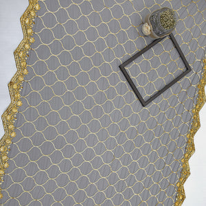 Black Net Fabric With Sequin & Thread-work
