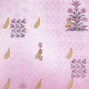 Lavender Digital Print Lucknowi Georgette Fabric