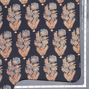 Black Gajji Silk Ajrak Print Fabric