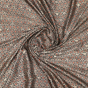 Brown Gajji Silk Ajrak Print Fabric