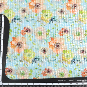 Sky Blue Floral Print Sequin on Georgette Fabric