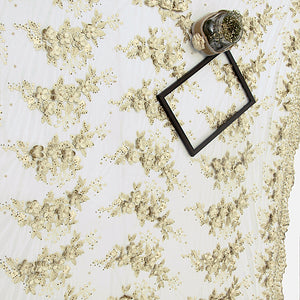 Beige Imported Embroidered Net Fabric With 3D Applique & Stone Work