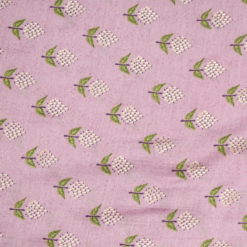 Mauve Muslin Fabric With Digital Print